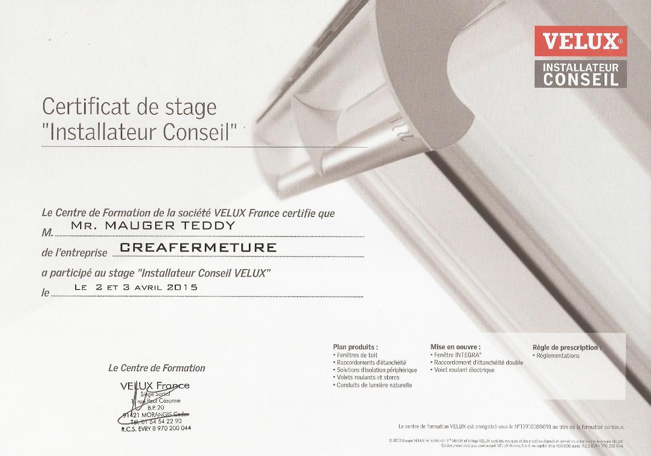 Installateur Conseil Velux - Certificat 2015-2020 CreaFermeture